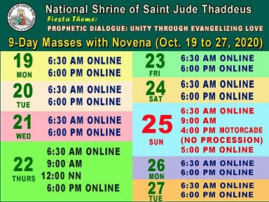 9-Day Masses with Novena (Oct 19-27)