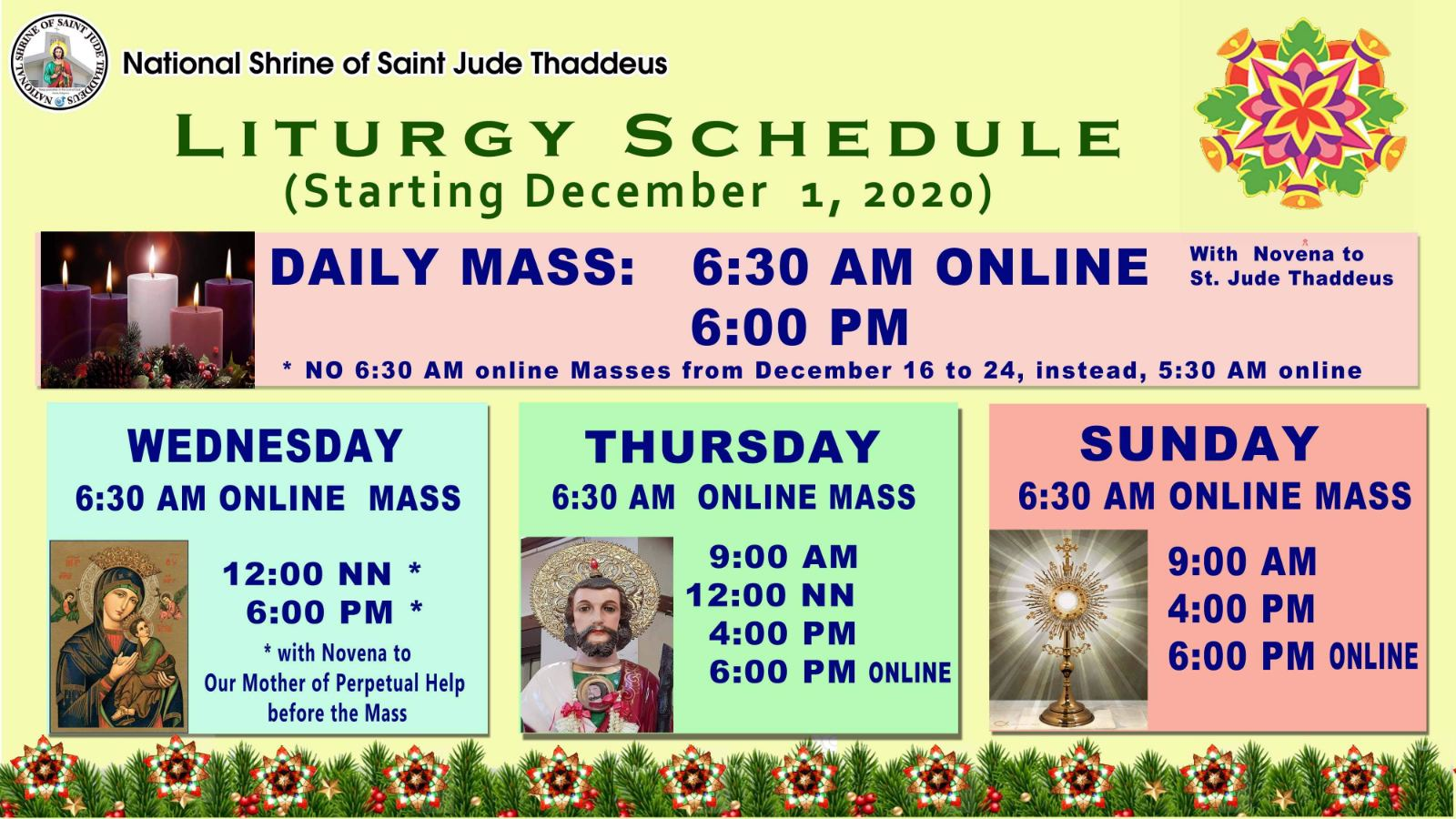 New Mass Schedules by Dec. 1