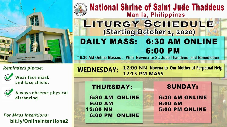 New Mass Schedules by Oct. 1